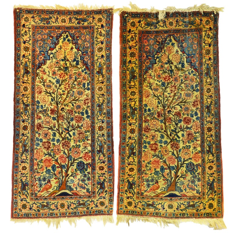 Rare Pair of Antique Lavar Kerman Persian 'Tree of Life' Prayer Carpets For Sale