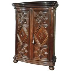 18th Century French Carved Walnut Bow-Front Armoire