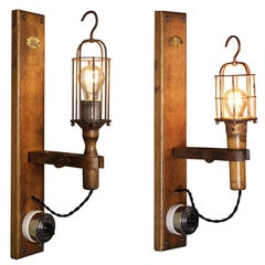 Antique Drop-Light Sconces with Oak Plaque Arrow Porcelain Rotary Switches, Pair