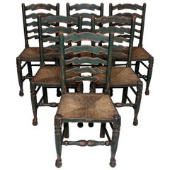 Set of Six English Oak Painted Mid-19th Century Ladder Back Chairs, circa 1860