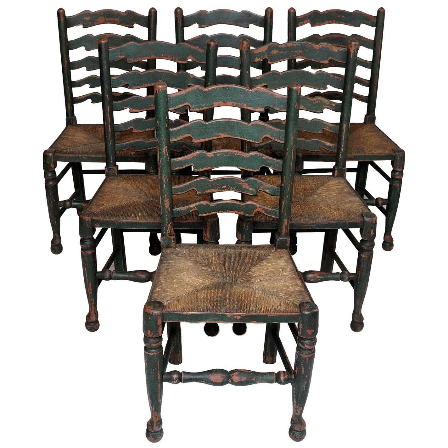 Set Of Six English Oak Painted Mid 19th Century Ladder Back Chairs, Circa  1860