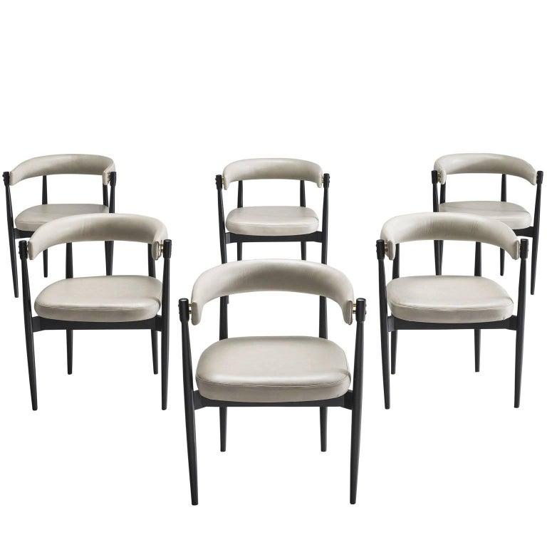 Italian Set of Six Grey Leatherette Armchairs