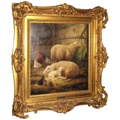 Stunning 19th Century Oil on Canvas Sheep and Lambs Chickens, Farm Life
