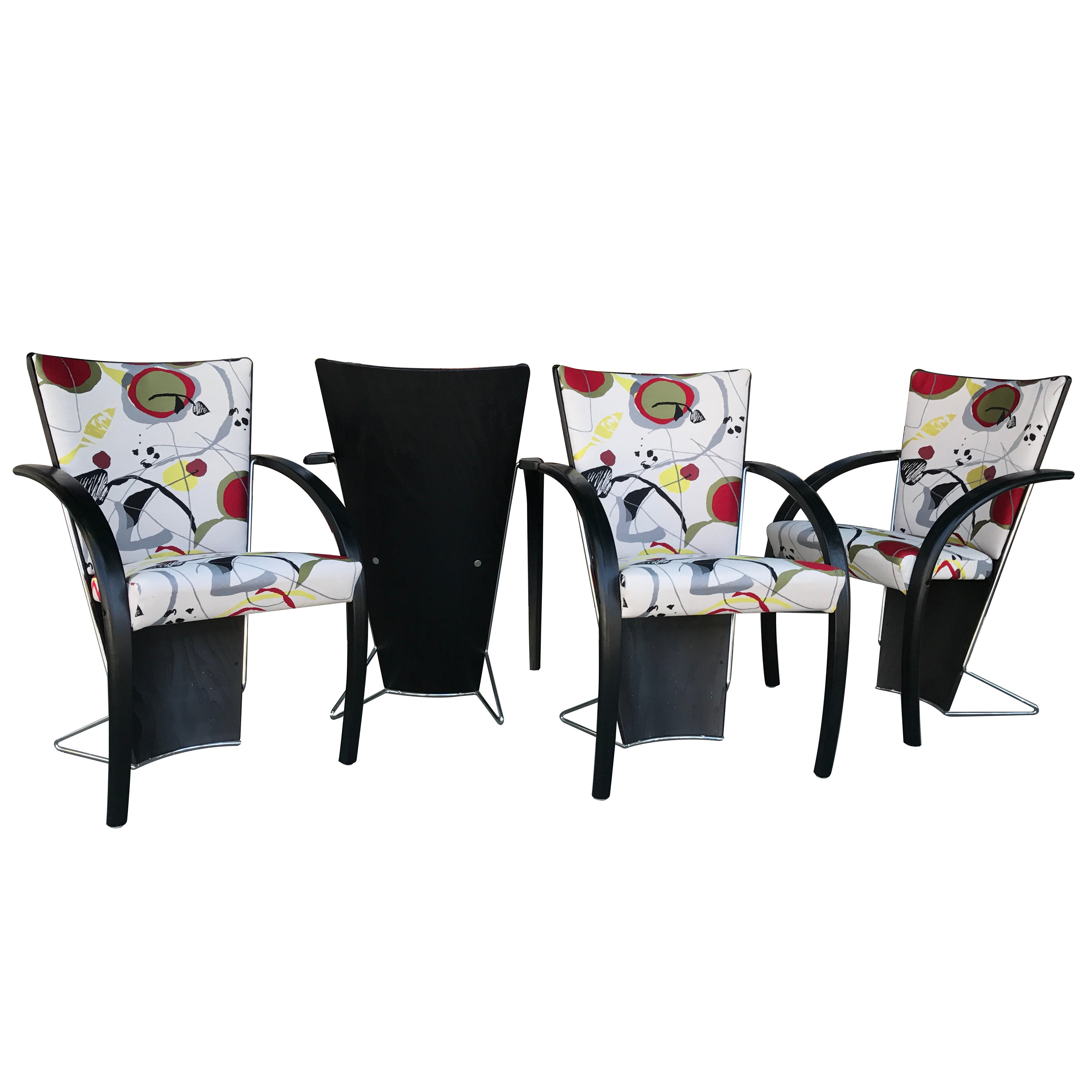 Set of Four Designer Norwegian 80s Modern Dining or Game Chairs Made by Westnofa