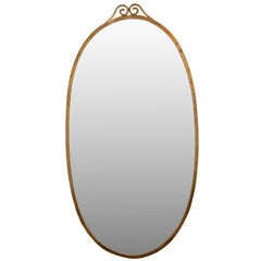 Large Oval Brass Mirror in the Manner of Gio Ponti