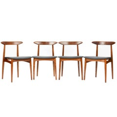 Set of Four Danish Teak Chairs after Hans Wegner