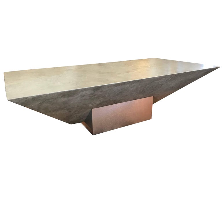 Brushed Aluminum Coffee Table: 80s Modern Designer Faux Plaster And Brushed Metal Coffee