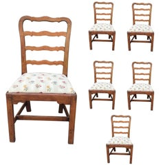 Set of Six 18th-19th Century English George III Ladder Back Side Chairs