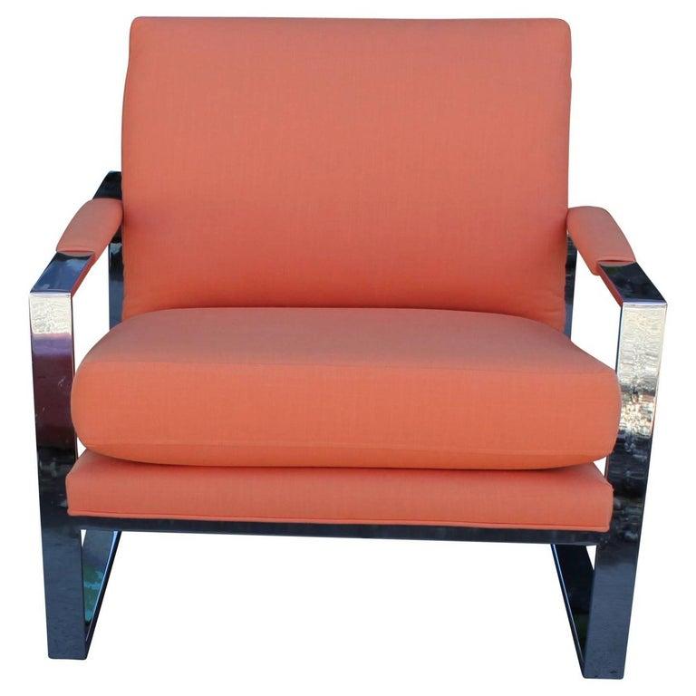 Modern Milo Baughman Chrome and Orange Linen Lounge Chair
