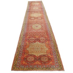 Antique Red and Gold Caucasian / Kazak Geometric Runner Rug