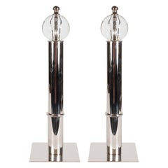 Art Deco Machine Age Chrome and Glass Andirons, Manner of Donald Deskey