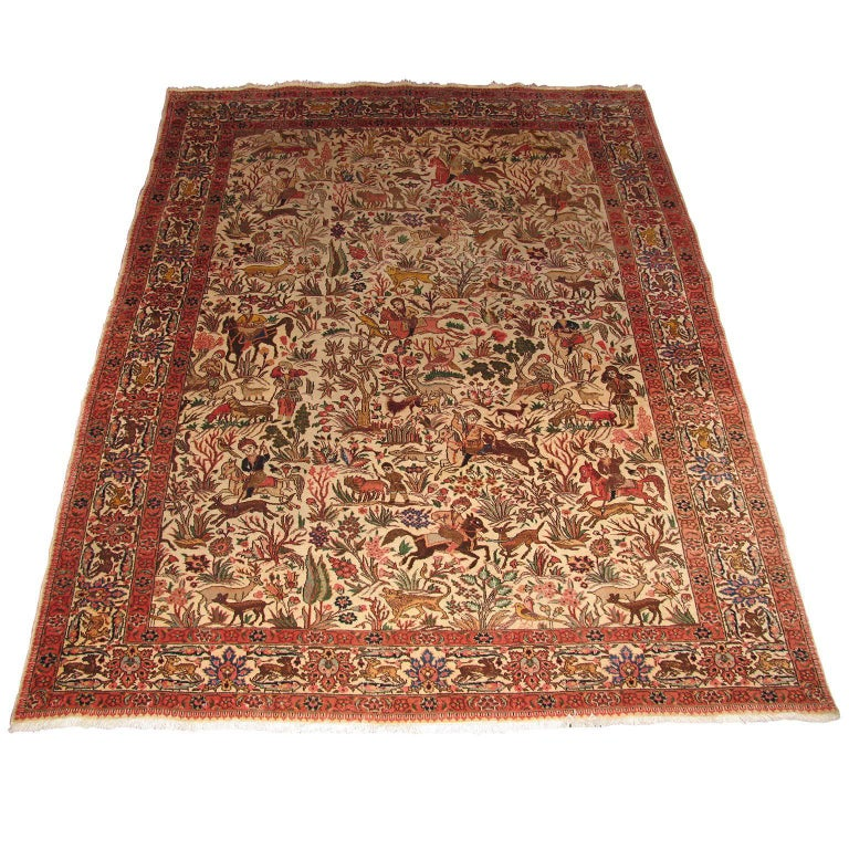 Tabriz Persian Rug With Hunting Scene For Sale At 1stdibs