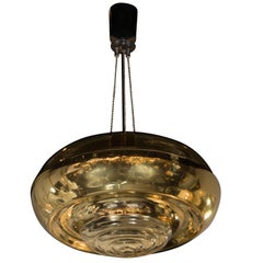 Mid-Century Modern Cylindrical Pendant in Glass and Brass by Peill & Pulitzer