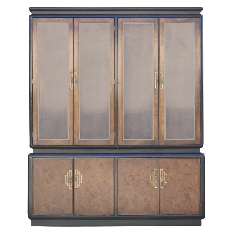 Hollywood Regency Century Furniture Style Two-Tone Dark Burl China Cabinet