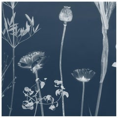 Flora Lavender Wallpaper or Wall Mural in Matte Cyanotype Blue