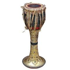 """19th Century Gilded Lacquered Teak Burmese Goblet """"Ozi"""" Drum"""