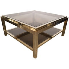 French Midcentury Chrome/Brass Cocktail Table by Alain Delon for Maison Jansen
