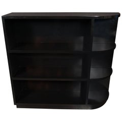 "Art Deco Streamlined Machine Age Black Lacquer ""Bullet"" Bookcase"