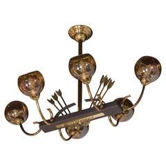 French Mid-Century Modern Flying Arrow Chandelier in Brass and Ebonized Walnut