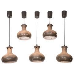 Set of Five Organic Mid-Century Modern Staggered Ochre Glazed Ceramic Pendants