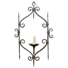 French Single Light Scrolled Hand-Forged Iron Chandelier, Midcentury, Vintage
