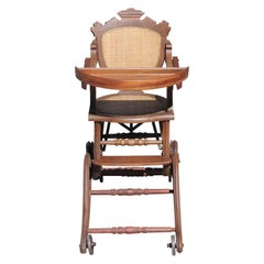 1880s American Victorian Walnut and Cane Metamorphic Highchair on Wheels
