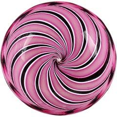 Murano Pink Black Aventurine Swirl Ribbons Italian Art Glass Decorative Dish