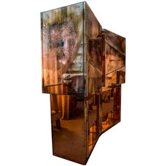 Butterfly Storage Cabinet Hanged Coated of Silvered Art Glass in stock