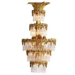 Tiered Brass Wall Light with Cut Crystal Spears by Caldwell, circa 1910