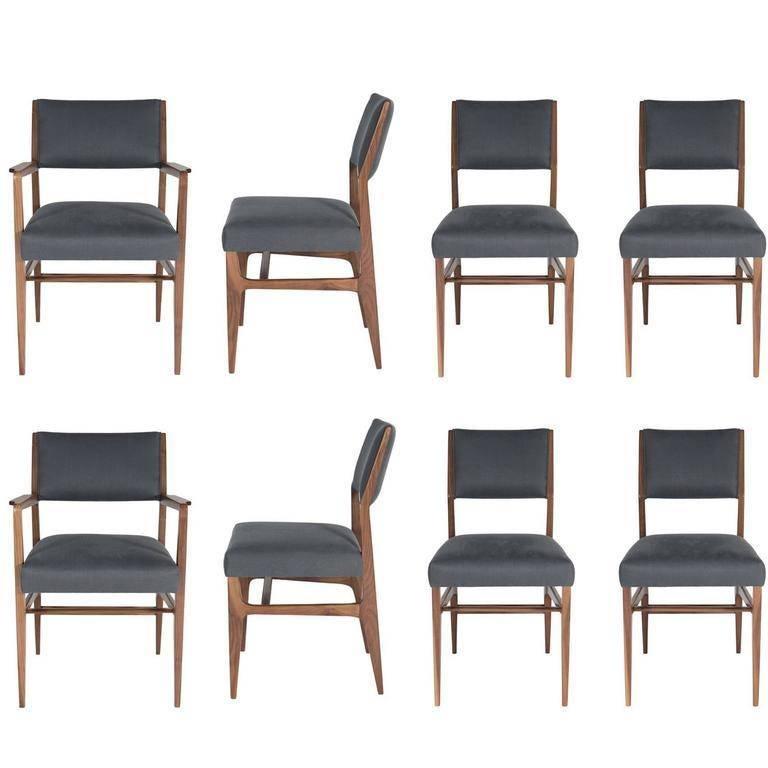 Set of Eight Maze Walnut Dining Chairs