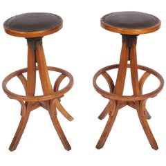 Industrial Pair of Swivel Oak High Stools with Leather Seats