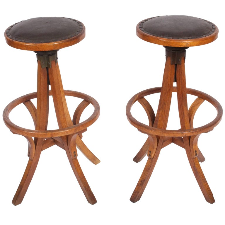 Industrial Pair of Swivel Oak Work Stools with Leather Seats