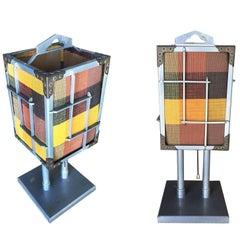 Aluminium Cubist Table Lamp with Original Shade, Pair