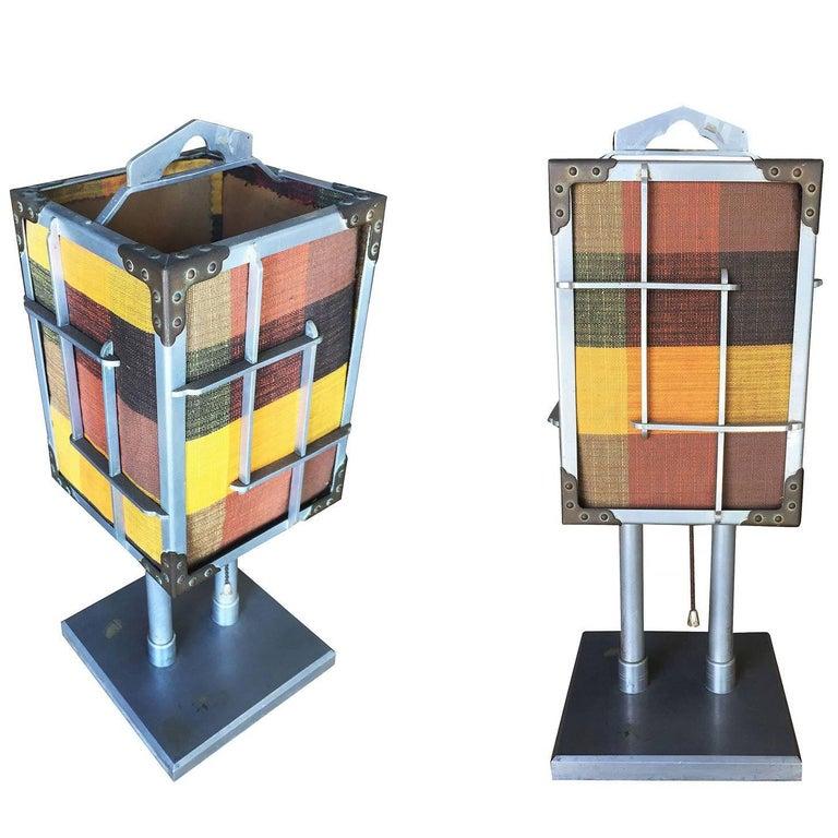 Aluminum Cubist Table Lamp with Original Shade, Pair