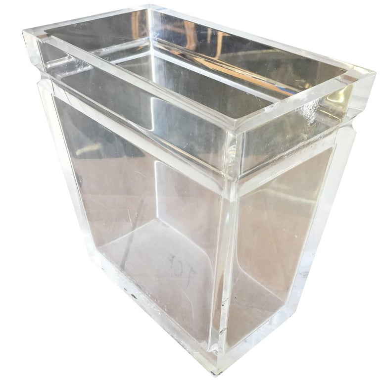 Vintage Clear Lucite Acrylic Trash Can Bin Waste