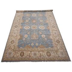 Light-Blue Veg Dye Oushak Design Rug