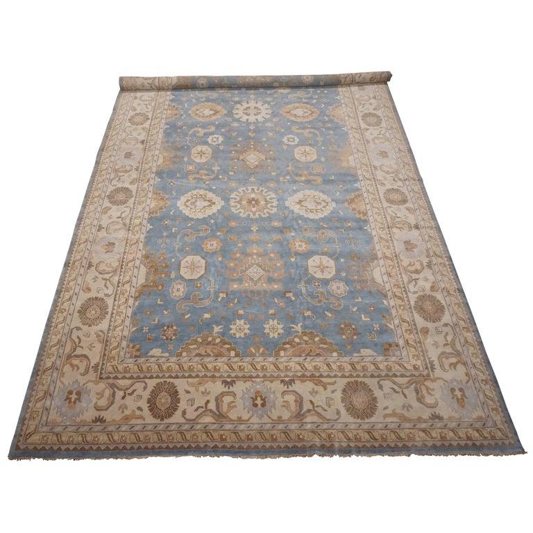Light Blue Veg Dye Oushak Design Rug For Sale At 1stdibs
