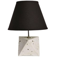 Octa - White Porcelain Modern Geometric Table Lamp with Black Linen Shade