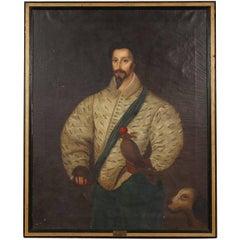 Antique 16th Century Oil on Canvas Portrait of a Falconer