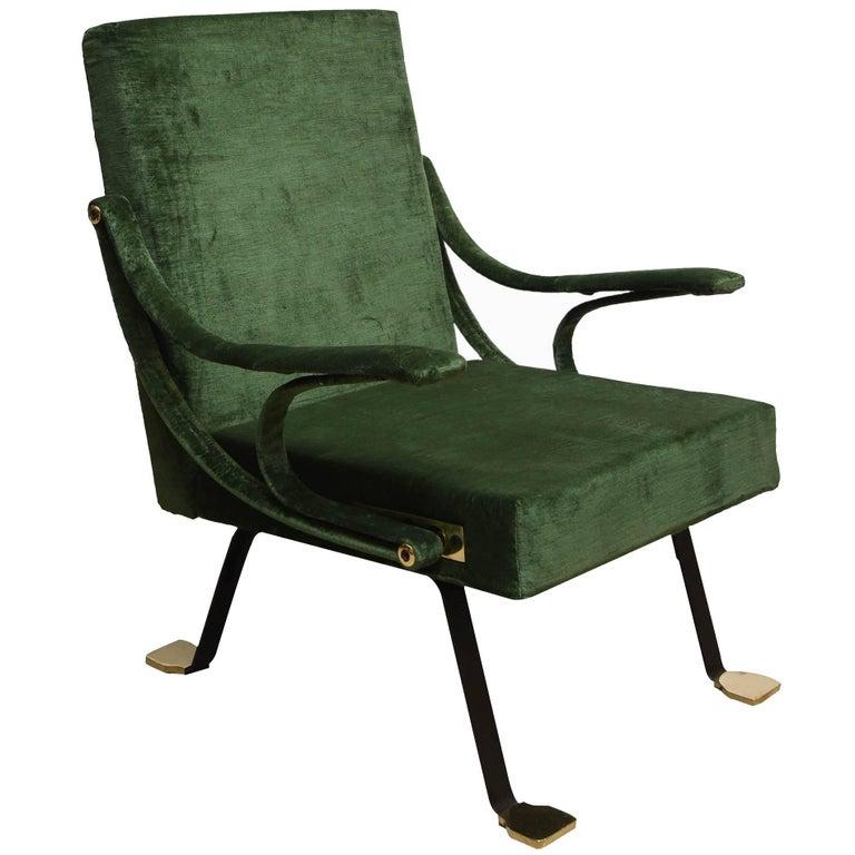 """1950s """"Digamma"""" Ignazio Gardella Gavina Green Armchair For Sale"""