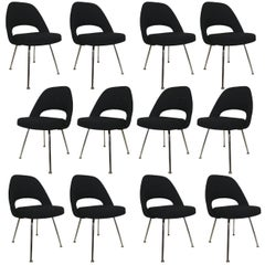 Eero Saarinen for Knoll Executive Side Chair in Knoll Black Upholstery