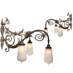 Large Pair of Bronze and Vaseline Glass Sconces