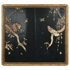 Japanese Lacquered Panel with Inlaid Mother-of-Pearl Bird Design