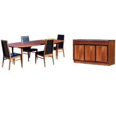 Mid-Century Modern Baughman Dillingham Dining Set of Table Four Chairs Credenza