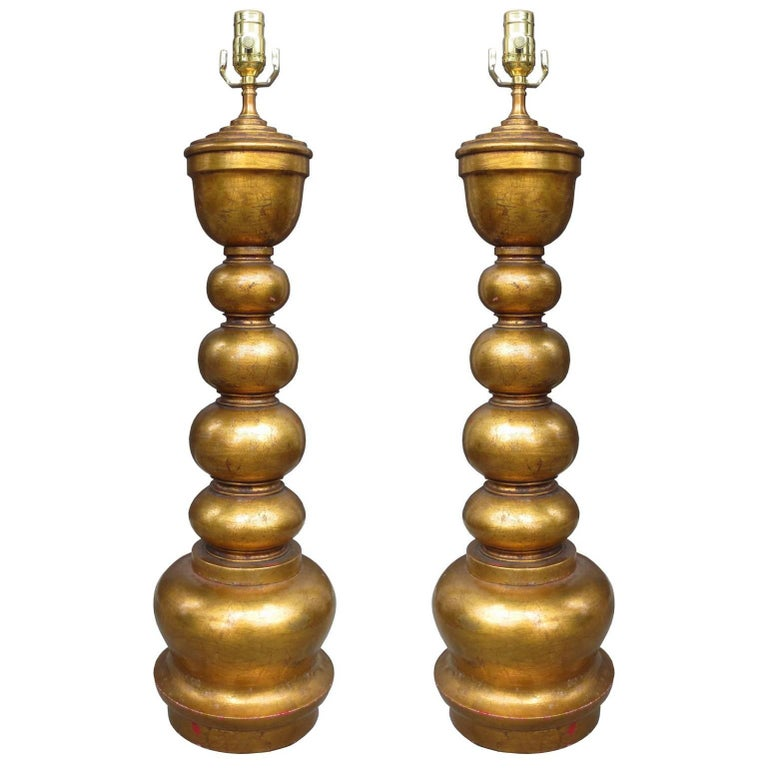 Pair of Midcentury Giltwood Lamps in the Style of James Mont