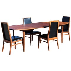 Mid-Century Modern Baughman Dillingham Dining Set, Table Two Leaves Four Chairs