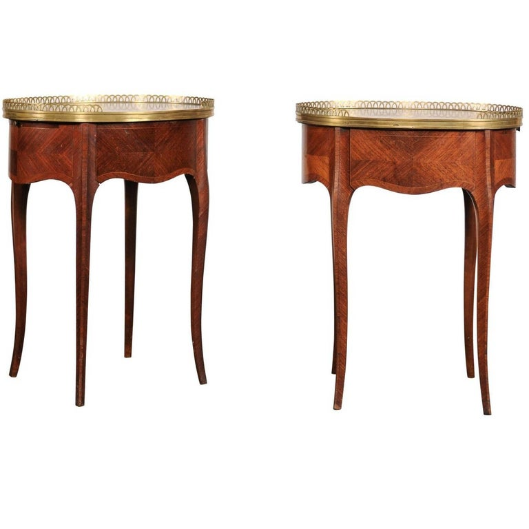 Pair of circa 1900 French Marble-Top, Bronze Gallery Tables with Drawers