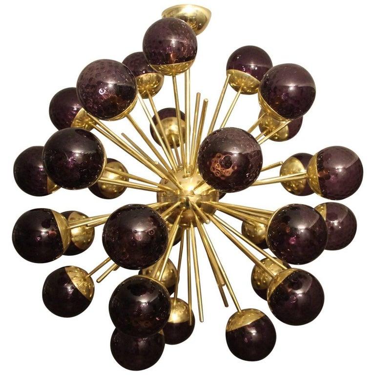 Midcentury Style Italian Sputnik Brass and Purple Murano Chandelier