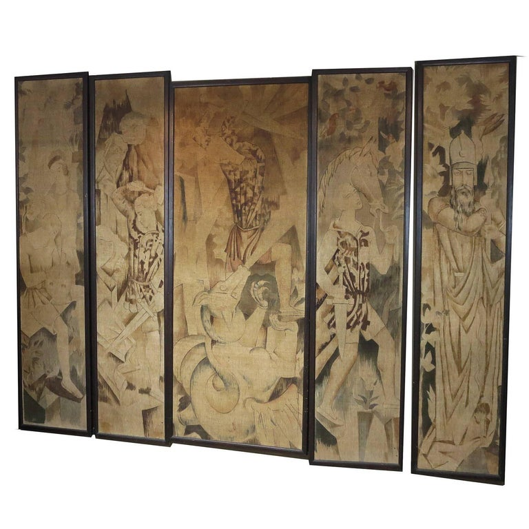Art Deco Theatre Painted Tapestry Panels, Set of Five 1