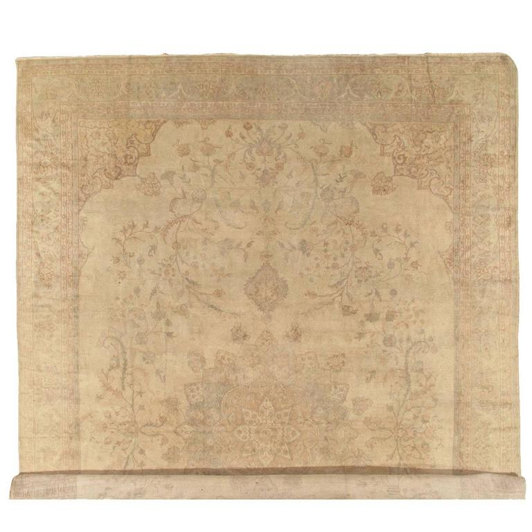 Antique Oushak Carpet, Turkish Handmade Oriental Rugs, Ivory, Taupe, Cream Rug